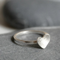 Sterling silver ring with a heart - ring with 7mm heart - MADE TO ORDER