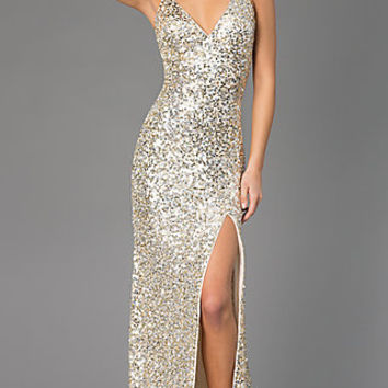 Floor Length V-Neck Sequin Primavera Dress