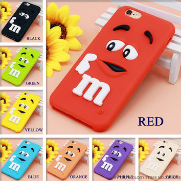 Cartoon M&M Chocolate Candy Rubber Phone Cases For iPhone 6 6S 7 Plus Best Quality Soft Silicone Back Cover For 4 4S 5C SE 5 5S