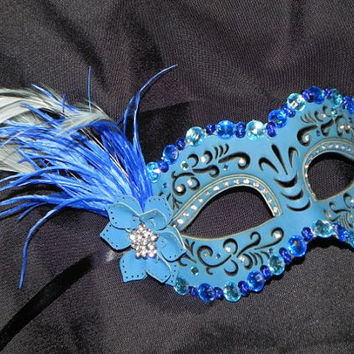 Leather Masquerade Mask in Shades of Blue and Silver