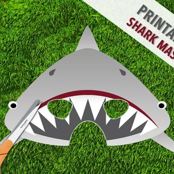 Shark Mask | Printable Jaws Mask | Great White Shark Party Mask