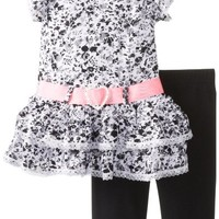Little Lass Baby Girls' 2Pc Printed Capri Set Tiered Lace, Black/White, 24 Months