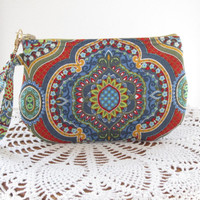 French Country, Bohemian, BOHO Clutch, Zipper Gadget Pouch, Wristlet. Smart Phone Bag