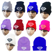 Fashion winter hat diamond hats for women knitted slouchy beanie womens bonnet Skull Chunky stocking hats,Baggy warm female Cap
