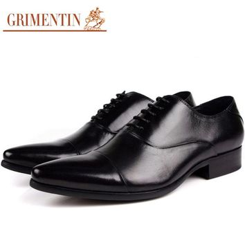 GRIMENTIN Mens Leather Shoes Pointed Toes Lace Up Genuine Leathe 345bc025e4e0