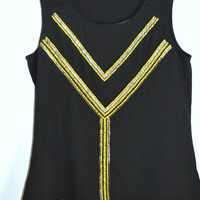 Coldwater Creek Black Yellow Beaded Tunic Tank Med 10-12