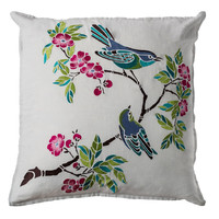 Cherry Blossom Birds Embroidered Pillow