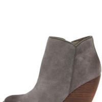 Very Volatile Whitby Charcoal Suede Leather Wedge Booties