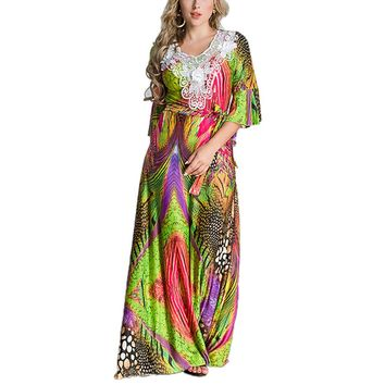 Women Maxi Dress Arabic Style Printed Half Sleeve Gown Middle Eastern Style Robe