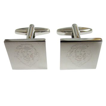 Silver Toned Etched Lion Head Cufflinks