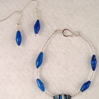BRBFL02 Bracelet and Earrings are made with Handmade Paper Beads