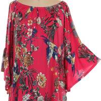Fuchsia Floral Tunic with Bell Sleeves