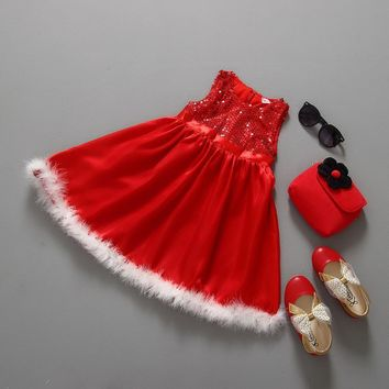 Christmas baby girl winter dress christmas Red santa little girls dresses toddler girl clothing kids costume Free Hat