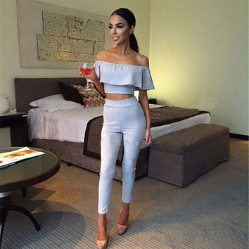 Summer Clothing Women Crop Tops+Long Pants Two-piece Set ruffle Bodysuit Outfits Playsuit Romper US