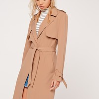 Missguided - Long Sleeve Trench Coat Storm Back Tan