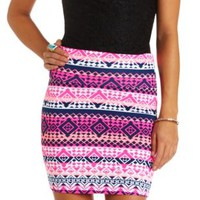 Geo-Tribal Print Bodycon Mini Skirt - Bright Pink Combo