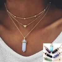 Fashion Boho Bohemia Hexagonal Column Crystal Opal Nature Stone Gold Necklace for Women Beach Choker Jewelry
