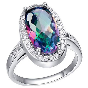 Accessories Multi-color Silver Gemstone Colorful Luxury Ring = 5839672321