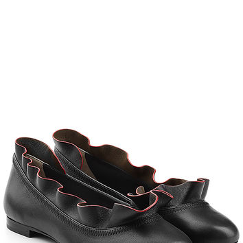 Fendi - Leather Ballerinas with Ruffled Trim