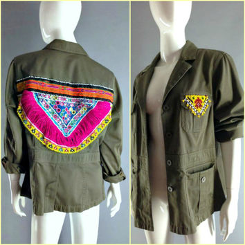 Gypsy Tribal Army Green Jacket Khaki Vintage Beaded Patchwork Khaki Shirt Festival Boho Coachella Free People Southwestern Western S M L