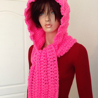 Hot Pink Crochet Scoodie. Hooded Scarf. Chunky Hooded winter Scarf. Free US shipping