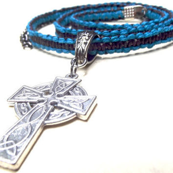Men's Necklace  Celtic Cross Handmade Braided by SherryKayDesigns