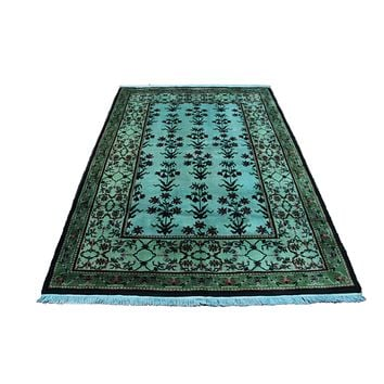 4x6 Overdyed Turquoise Rug Deco Floral Teal 2822