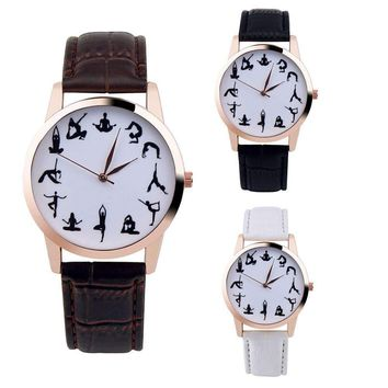 Fashion Casual Leather Yoga Pose Wristwatch-Walk In Style With A Trendy Dial