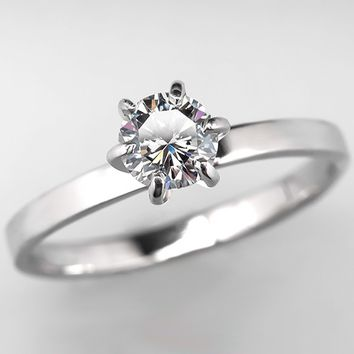 1/2 Carat Diamond Solitaire Engagement Ring 14K White Gold