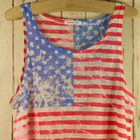 Retro American Flag Dyed Top - New Arrivals - Retro, Indie and Unique Fashion