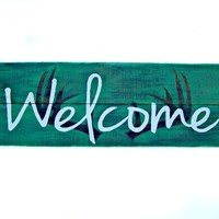 "9 x 27 "" Handmade Large Rustic Welcome Sign With Antler Silhouette on Genuinely Aged Reclaimed Barn Wood"