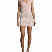 Lynn Nude Multi Bandage Mini Dress