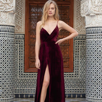 Luxury Awaits Burgundy Velvet Wrap Maxi Dress - FLASH SALE