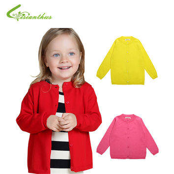 Baby Girls Sweater Cardigan 2016 New Spring Cotton Clothing High Quality Knitted Jacket Fashion Sweater Coat Little Girls Cloth