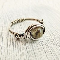 Labradorite Sterling Silver Wire Wrapped Ring Antiqued Silver