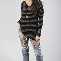 let's v friends forever knit top - black