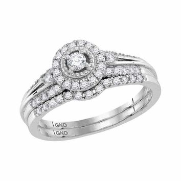 10kt White Gold Women's Round Diamond Halo Bridal Wedding Engagement Ring Band Set 1-3 Cttw - FREE Shipping (US/CAN)