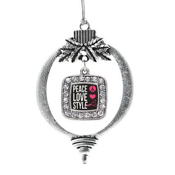 Peace, Love, And Style Square Charm Holiday Ornament
