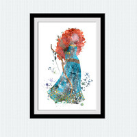 Disney princess decor Merida watercolor art print Merida poster Disney colorful print Home decoration Kids room wall art Nursery decor W622