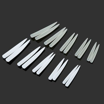 10 Pcs/Set Extra Long Sharp Nail Tips Long Stiletto Fake Nail Tips French False Competition Nail Tips Half Cover