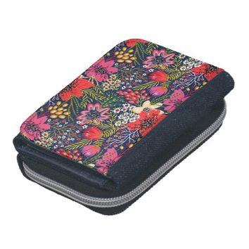 Vintage Bright Floral Pattern Fabric Denim Wallet