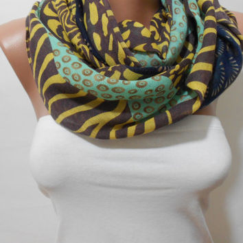 Multicolor Infinity Scarf,Multicolor Pattern Scarf,Long Shawl Scarf,Gift For Mother, For Her, Fashion Infinity Scarf, ScarfClub