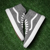 Best Deal Online Vans White Gray Sk8-Hi High Top Women Sneaker Flats Shoes Canvas Sport Shoes