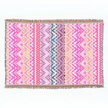 Paradise #2 - Pink Aztec Throw Blanket