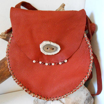 Leather Crossbody Bag, Small Purse with Elk Antler, Bone and Jasper, Hippie, Boho, Gypsy, OOAK, Mountain Man, Gift For Her, Handmade, Rustic