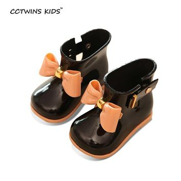 CCTWINS KIDS spring autumn children pvc leather shoe for baby girl bow rain boot boy w
