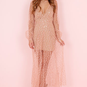FOR LOVE AND LEMONS | All That Glitters Maxi Dress - Almond