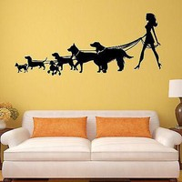 Wall Stickers Lady with the Dog Pet Shop Salon Animal Mural Vinyl Decal Unique Gift (ig2001)