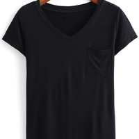 Black V Neck Short Sleeve T-shirt with Pocket