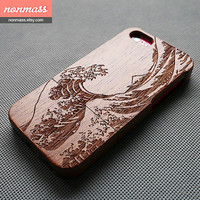 Wood iPhone 5C case - The great wave iPhone 5C case - Wooden iPhone 5C case - Japanese painting iPhone 5C Case - Sapele - 130012